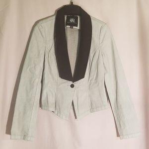 Nwt rock & republic denim jacket black collar